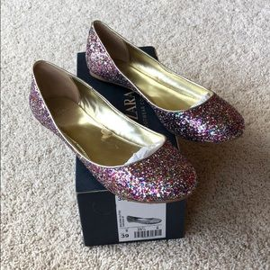 Zara Rainbow glitter shoes